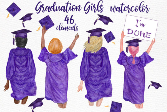 Download Free Graduation Clipart Watercolor Girls Graphic By Lecoqdesign for Cricut Explore, Silhouette and other cutting machines.