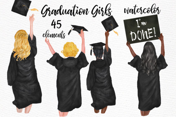 Graduation Clipart Watercolor Girls Graphic Illustrations By LeCoqDesign