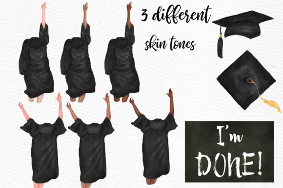 Graduation Clipart Watercolor Girls Graphic Illustrations By LeCoqDesign - Image 2
