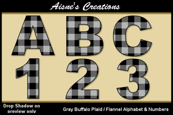 Download Free Gray Buffalo Plaid Alphabet Numbers Graphic By Aisne for Cricut Explore, Silhouette and other cutting machines.