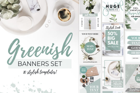 Green Banners for Pinterest or Blog V.1 Graphic By switzershop