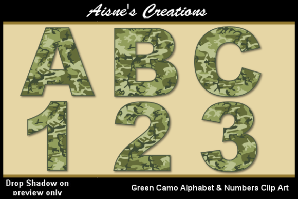 Print on Demand: Green Camo Alphabet & Numbers Graphic Illustrations By Aisne