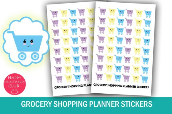Print on Demand: Grocery Shopping Planner Stickers Graphic Crafts By Happy Printables Club
