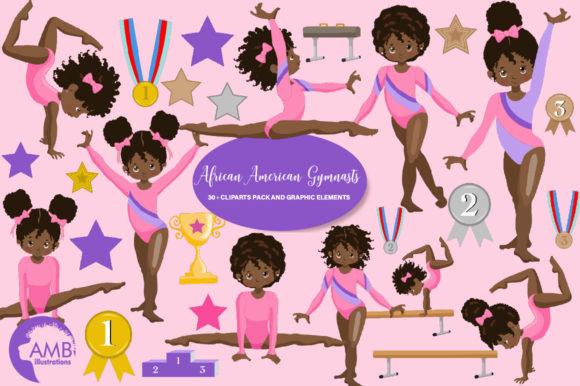 Gymnastic Girls Clipart AMB-2139 Graphic Illustrations By AMBillustrations