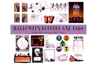 Print on Demand: Halloween Clip Art Frames Borders Tags Graphic Illustrations By DigitalPrintableMe