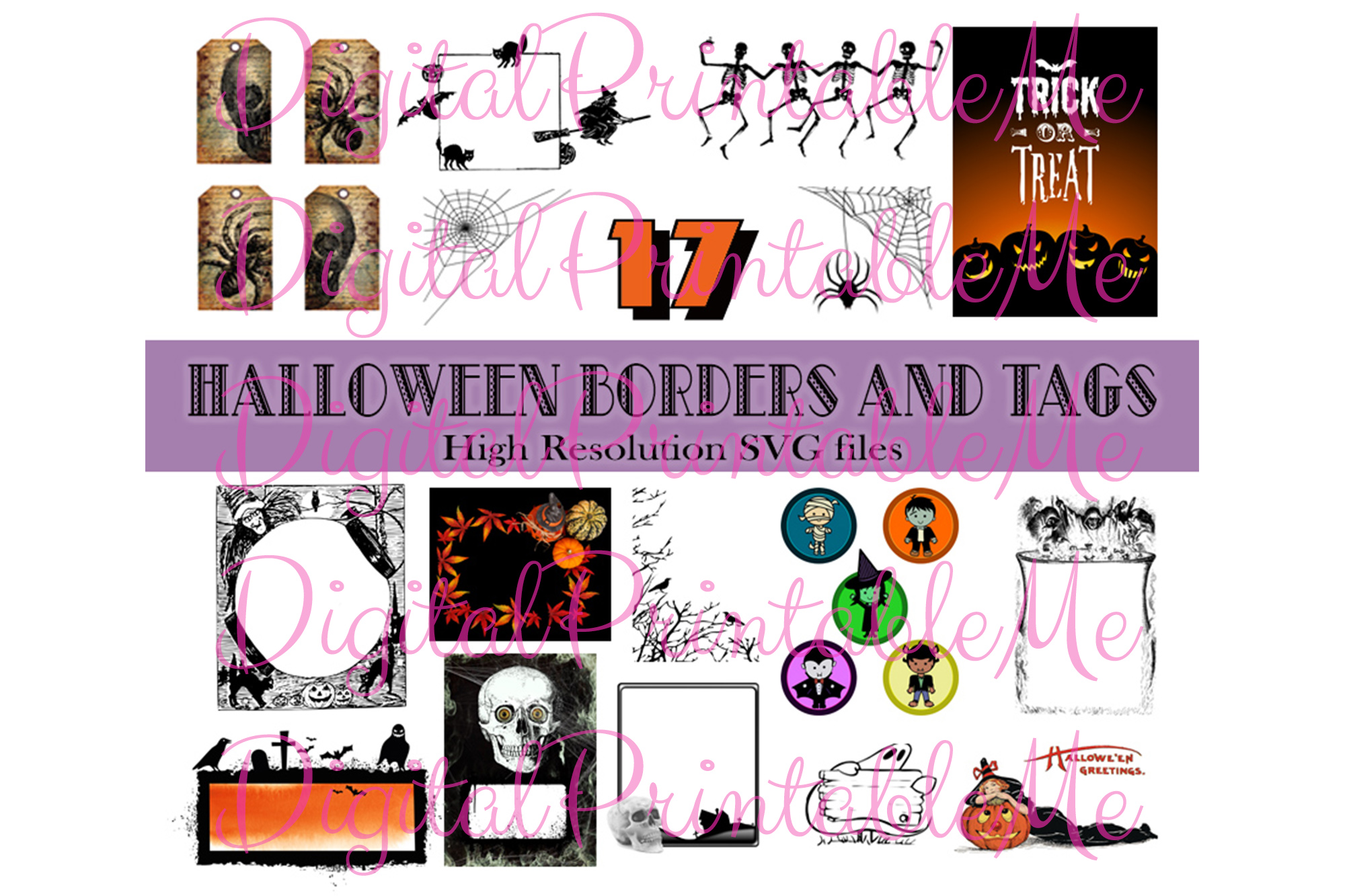 Download Free Halloween Clip Art Frames Borders Tags Graphic By for Cricut Explore, Silhouette and other cutting machines.