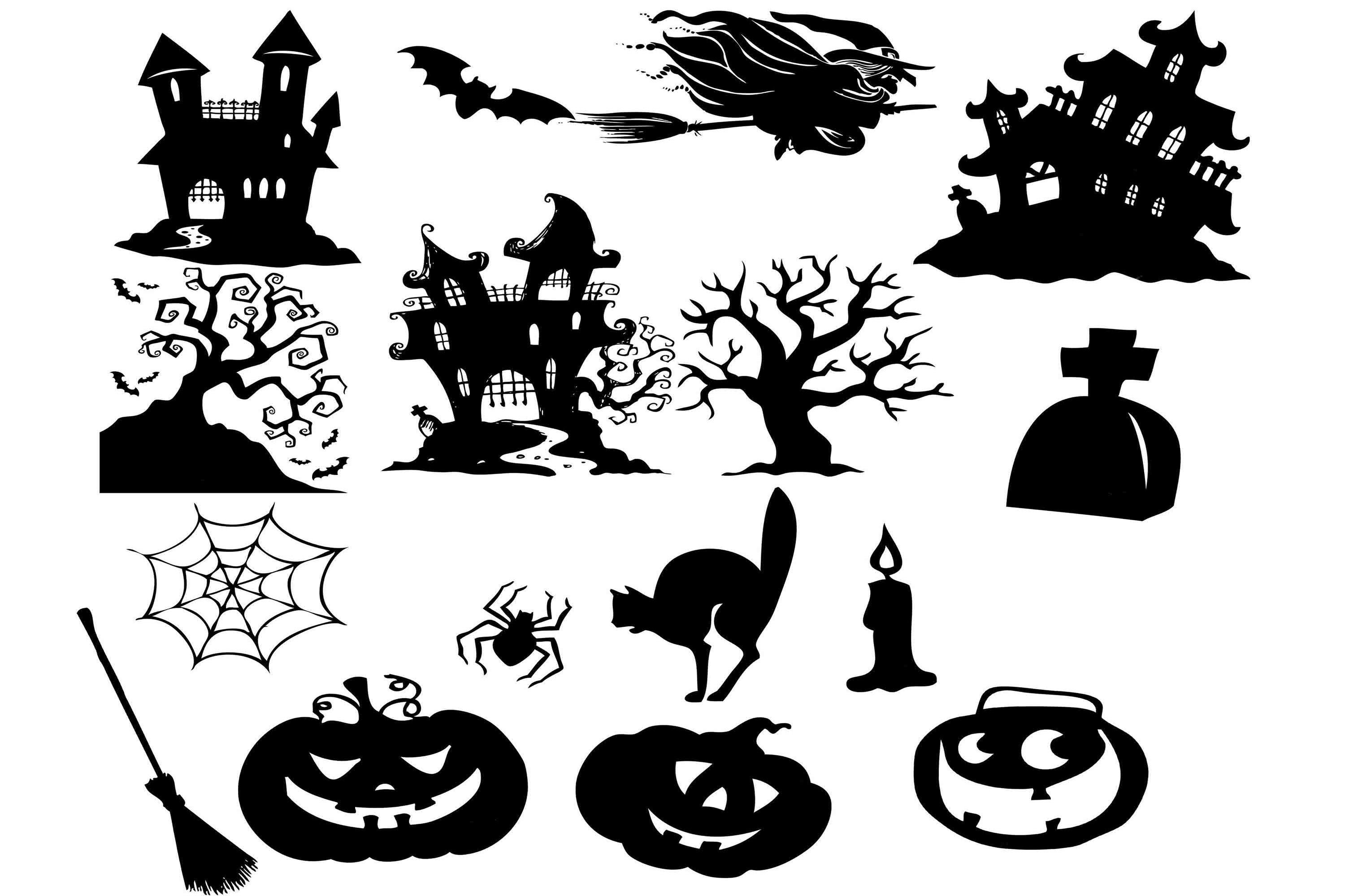 Download Free Halloween Clip Art Graphic By Retrowalldecor Creative Fabrica for Cricut Explore, Silhouette and other cutting machines.