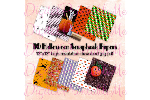 Print on Demand: Halloween Digital Papers Pages Scrapbook Graphic Backgrounds By DigitalPrintableMe