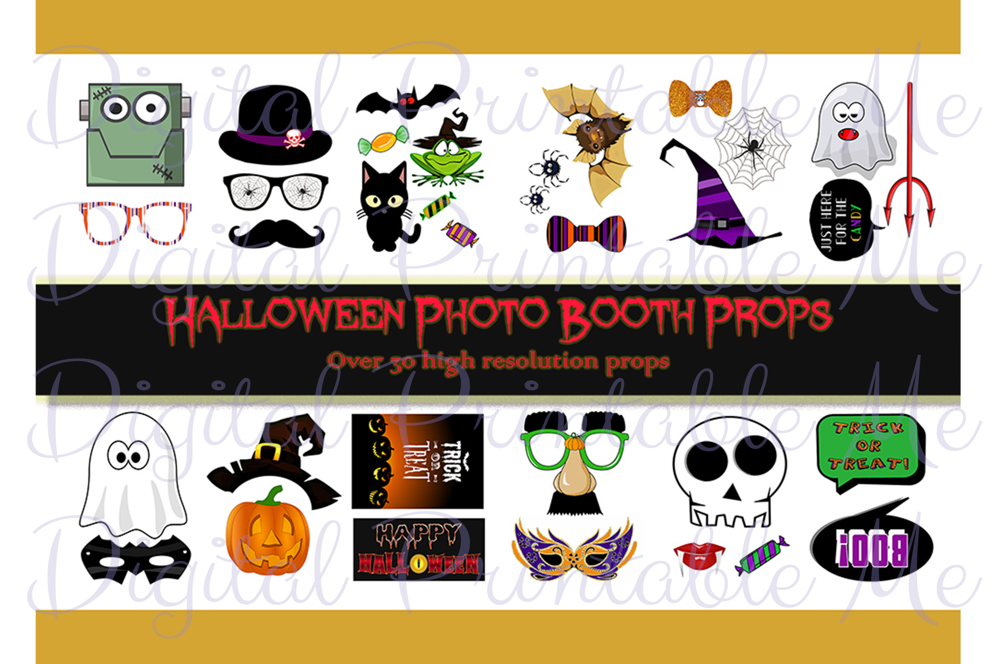 Download Free Halloween Photo Booth Props Masks Party Graphic By for Cricut Explore, Silhouette and other cutting machines.