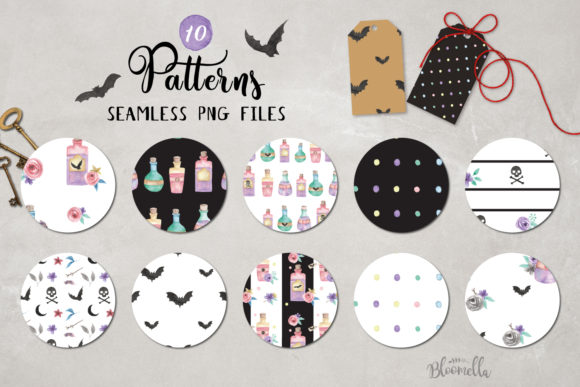 Halloween Potions Watercolor Bats Set Graphic By Bloomella Image 1