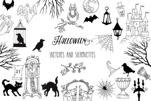 Print on Demand: Halloween. Sketches & Silhouettes Clipar Graphic Illustrations By natalia.piacheva