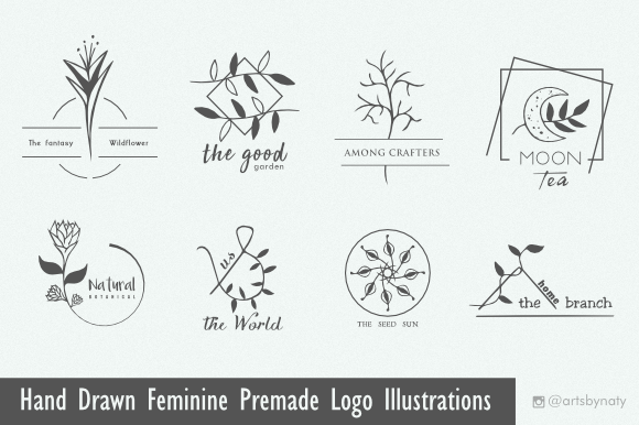 Print on Demand: Hand Drawn Feminine Premade Logo Graphic Logos By artsbynaty