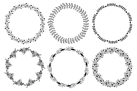 Hand Drawn Wreaths and Elements Clipart Graphic Illustrations By VR Digital Design - Image 2