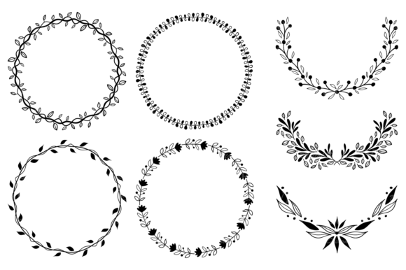 Hand Drawn Wreaths and Elements Clipart Graphic Illustrations By VR Digital Design - Image 3