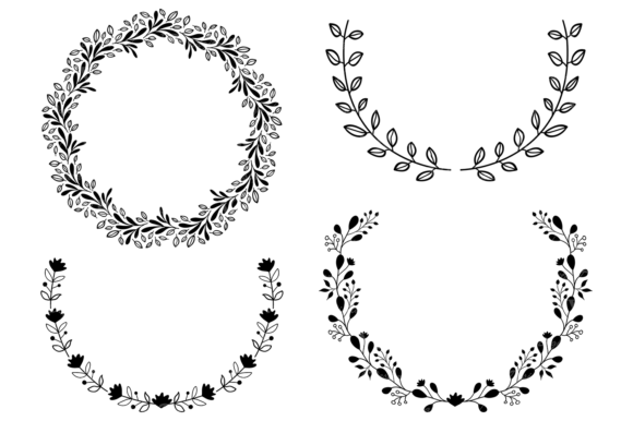 Hand Drawn Wreaths and Elements Clipart Graphic Illustrations By VR Digital Design - Image 4