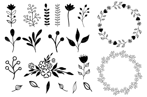Hand Drawn Wreaths and Elements Clipart Graphic Illustrations By VR Digital Design - Image 5
