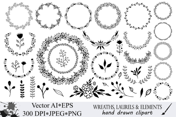 Download Free Hand Drawn Wreaths And Elements Clipart Graphic By Vr Digital for Cricut Explore, Silhouette and other cutting machines.