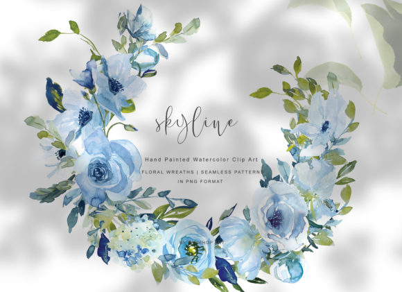 Hand Painted WatercolorFloral Wreath Set Graphic Illustrations By Patishop Art