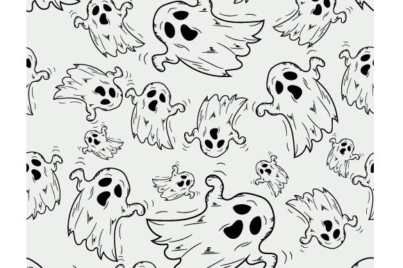 Download Free Hand Drawn Pattern On Theme Of Halloween Graphic By Iop Micro for Cricut Explore, Silhouette and other cutting machines.