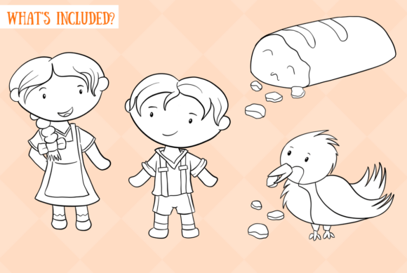 Download Free Hansel And Gretel Black And White Grafico Por for Cricut Explore, Silhouette and other cutting machines.