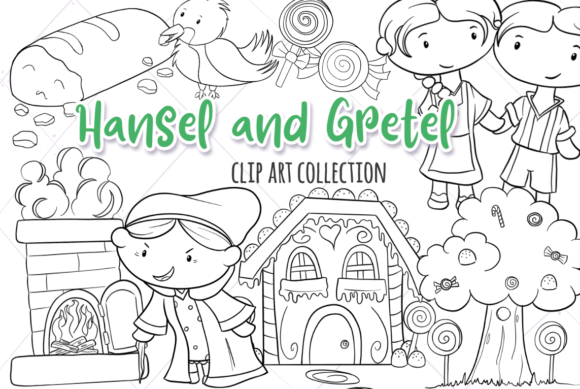Print on Demand: Hansel and Gretel (Black and White) Graphic Illustrations By Keepinitkawaiidesign