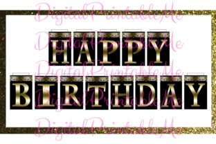 Happy Birthday Banner Black Gold Fancy Graphic By DigitalPrintableMe
