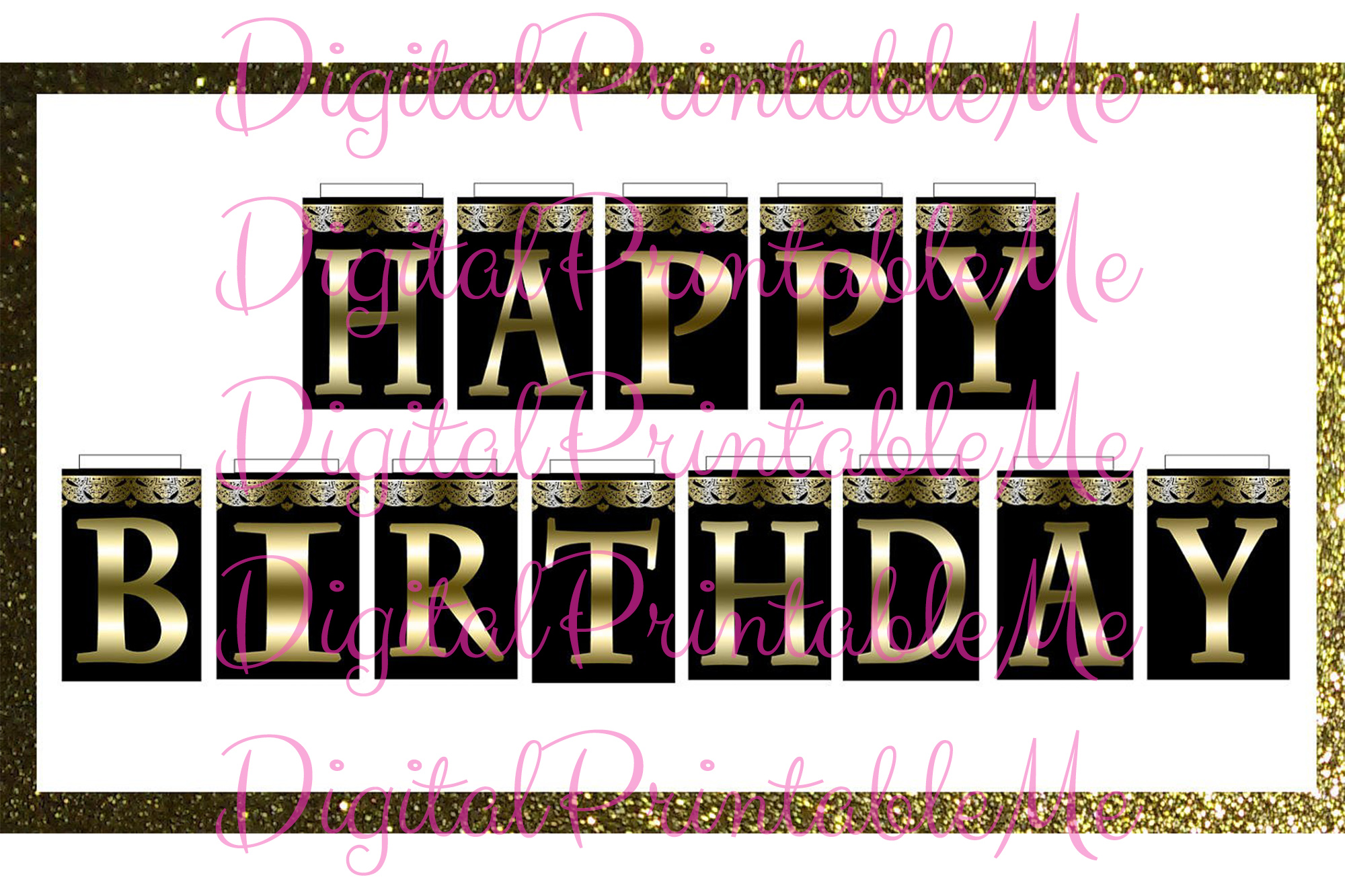 graphic regarding Printable Happy Birthday Banner called Delighted Birthday Banner Black Gold Extravagant