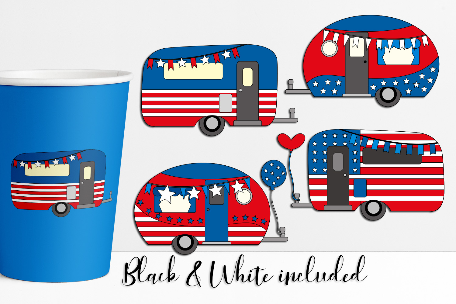 Download Free Happy Camper 4th July Graphic By Darrakadisha Creative Fabrica for Cricut Explore, Silhouette and other cutting machines.