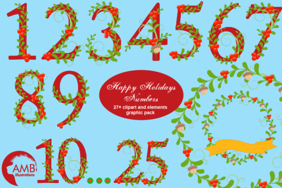 Download Free Happy Holiday Numbers Clipart Amb 2127 Graphic By for Cricut Explore, Silhouette and other cutting machines.