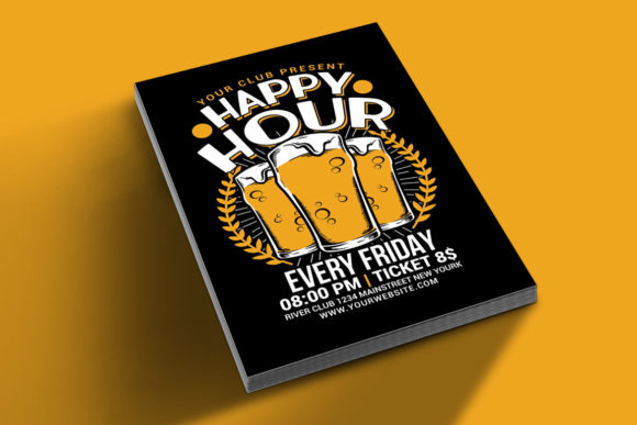 Download Free Happy Hour Beer Flyer Grafico Por Muhamadiqbalhidayat Creative for Cricut Explore, Silhouette and other cutting machines.