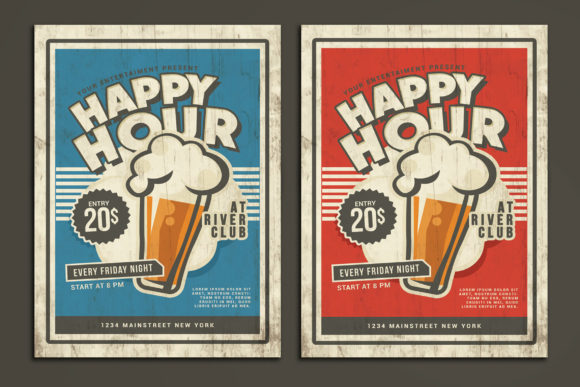 Download Free Happy Hour Vintage Flyer Graphic By Muhamadiqbalhidayat for Cricut Explore, Silhouette and other cutting machines.