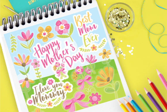 Print on Demand: Happy Mothers Day Clipart Set Graphic Illustrations By Prettygrafik