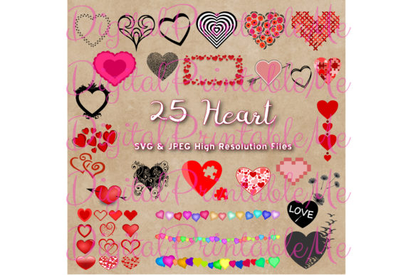 Print on Demand: Heart Clip Art, 25 SVG JPG Valentines Graphic Illustrations By DigitalPrintableMe