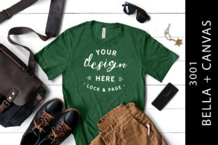 Heather Grass Green Bella Canvas 3001 Graphic Product Mockups By lockandpage