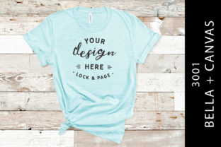Heather Ice Blue Bella Canvas 3001 Mock Graphic Product Mockups By lockandpage