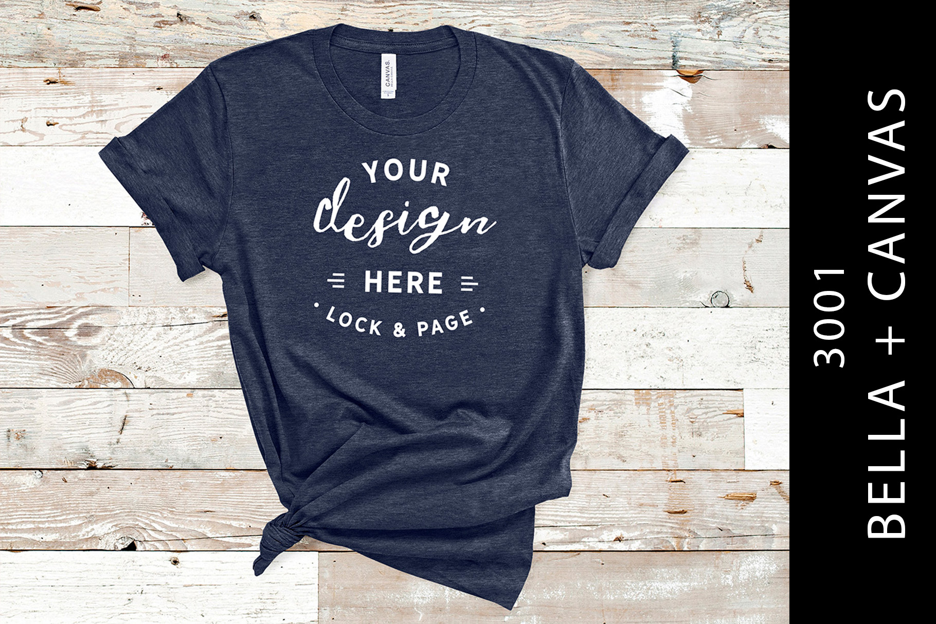 6d6c39575 Heather Navy Bella Canvas 3001 Mockup Graphic by lockandpage - Creative  Fabrica