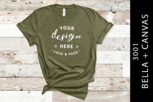 Heather Olive Bella Canvas 3001 Mockup Graphic Product Mockups By lockandpage