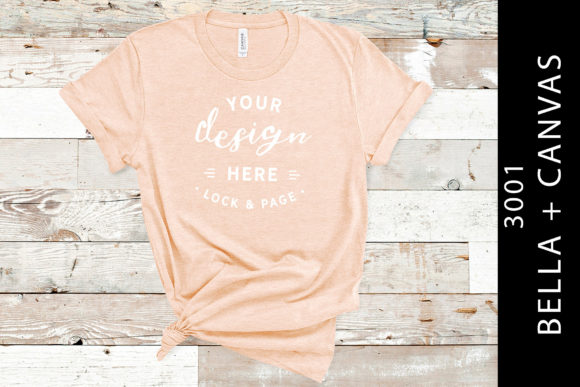 Heather Prism Peach Bella Canvas 3001 Graphic Product Mockups By lockandpage