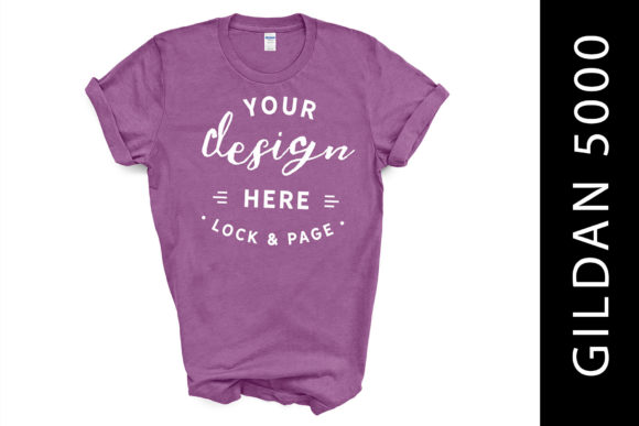 Heather Radiant Orchid Gildan 5000 Mock Graphic Product Mockups By lockandpage