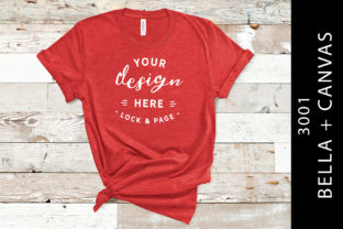 Heather Red Bella Canvas 3001 Mockup Graphic Product Mockups By lockandpage