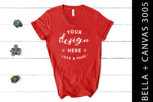 Heather Red Bella Canvas 3005 V Neck Graphic Product Mockups By lockandpage