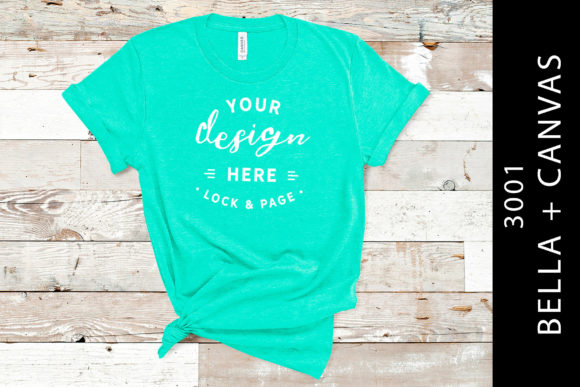 Heather Sea Green Bella Canvas 3001 Graphic Product Mockups By lockandpage
