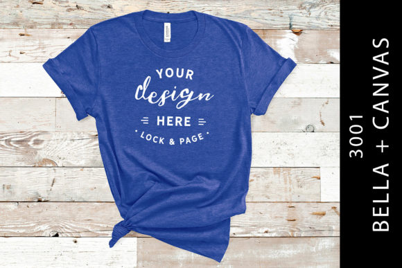 Heather True Royal Bella Canvas 3001 Graphic Product Mockups By lockandpage