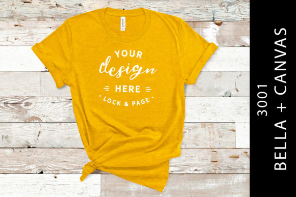 Heather Yellow Bella Canvas 3001Mockup Graphic Product Mockups By lockandpage