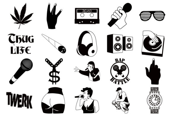 Download Free Hip Hop Collection Graphic By Mine Eyes Design Creative Fabrica for Cricut Explore, Silhouette and other cutting machines.