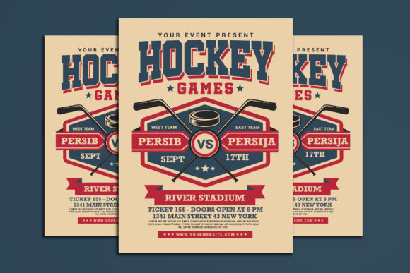 Hockey Game Flyer Graphic Print Templates By muhamadiqbalhidayat