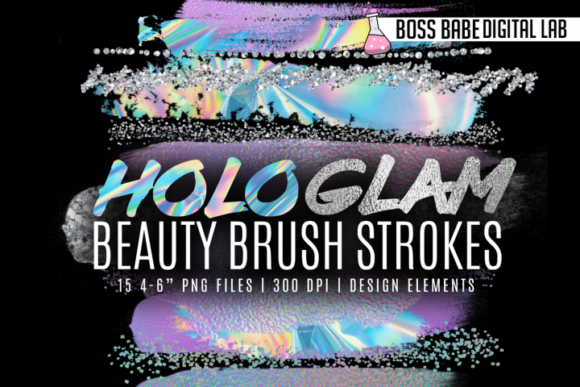 Print on Demand: HoloGlam Beauty Brush Strokes Graphic Textures By bossbabedigitallab
