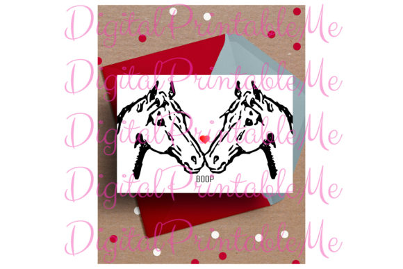 Horse Card, Valentine's Day Love Boop Graphic By DigitalPrintableMe