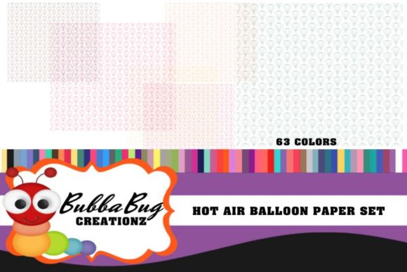 Hot Air Balloon Paper Set Graphic Backgrounds By BUBBABUG