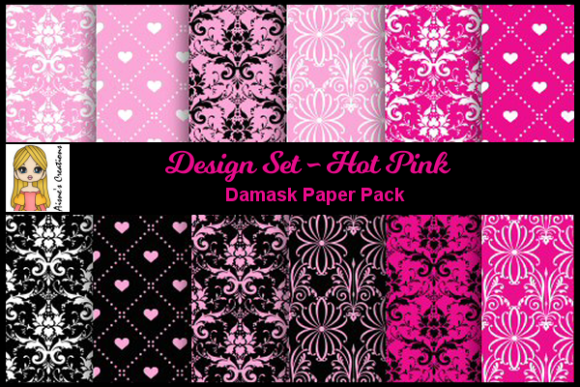 Print on Demand: Hot Pink - Damask Paper Pack Graphic Backgrounds By Aisne